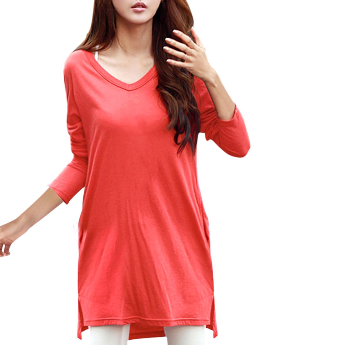 Allegra K Woman Side-Slit Two Pockets V-Neckline Longline Top Red XS