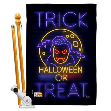 Breeze Decor BD-HO-HS-112087-IP-BO-D-US18-BD 28 x 40 in. Halloween Dracula Fall Impressions Decorative Vertical Double Sided House Flag Set with Pole Bracket & Hardware - image 1 de 1