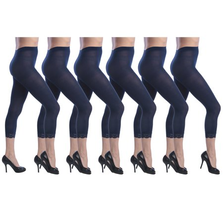 Hip Rider Capri Tights (Isadora Women's 6 Pack Capri Tights with Lace Trim Set )
