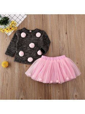Toddler Baby Girls Clothing Autumn Winter Clothes Knitted Long Sleeve Sweater Tops+Tutu Skirt Outfits