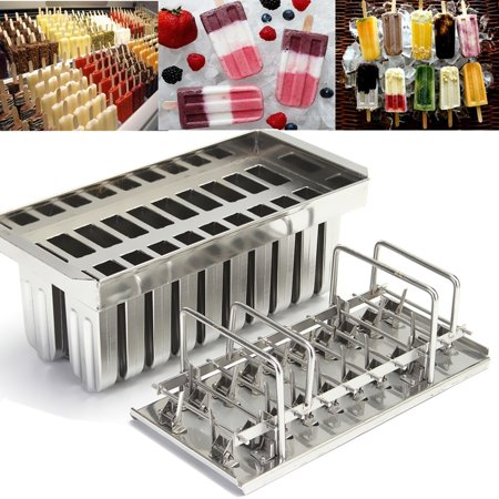 20 Lattices Round Head Double Grooves Stainless Steel Ice Cream Mold  Lolly Popsicle Stick Holder Maker with Cleaning Brush + 100pcs