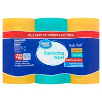 Great Value Disinfecting Wipes, Fresh & Lemon Scent, 225 wipes