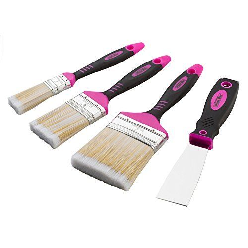 The Original Pink Box PB4PBS Pink Paint Brush and Scraper Set, 4-Piece
