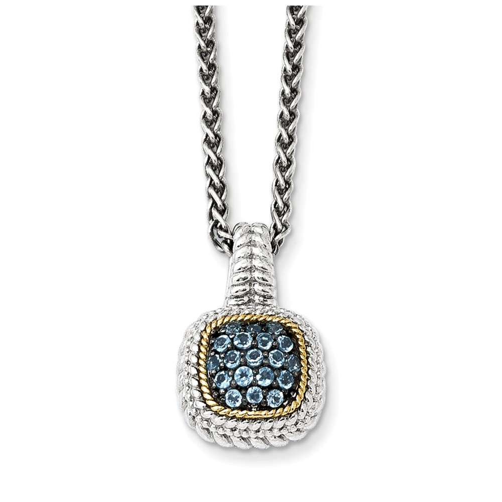 "14K Gold and 925 Sterling Silver with and Black Rhodium Blue Simulated Topaz Necklace -18"" (18in x 2mm) by"