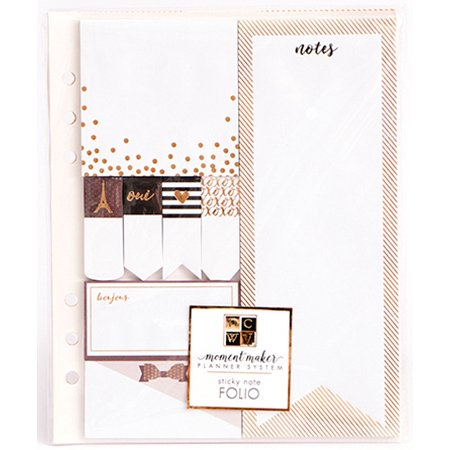 DCWV Moment Maker Planner System 6-Ring Folio Insert-W/8 Gold Foiled Sticky Note Pads