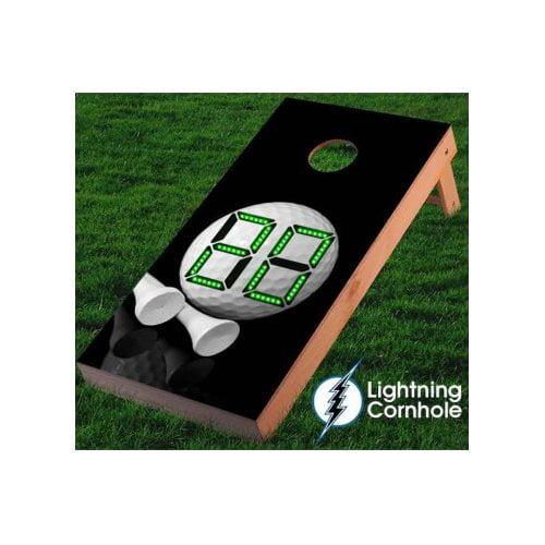 Lightning Cornhole Electronic Scoring Golf Ball and Tee Cornhole Board by