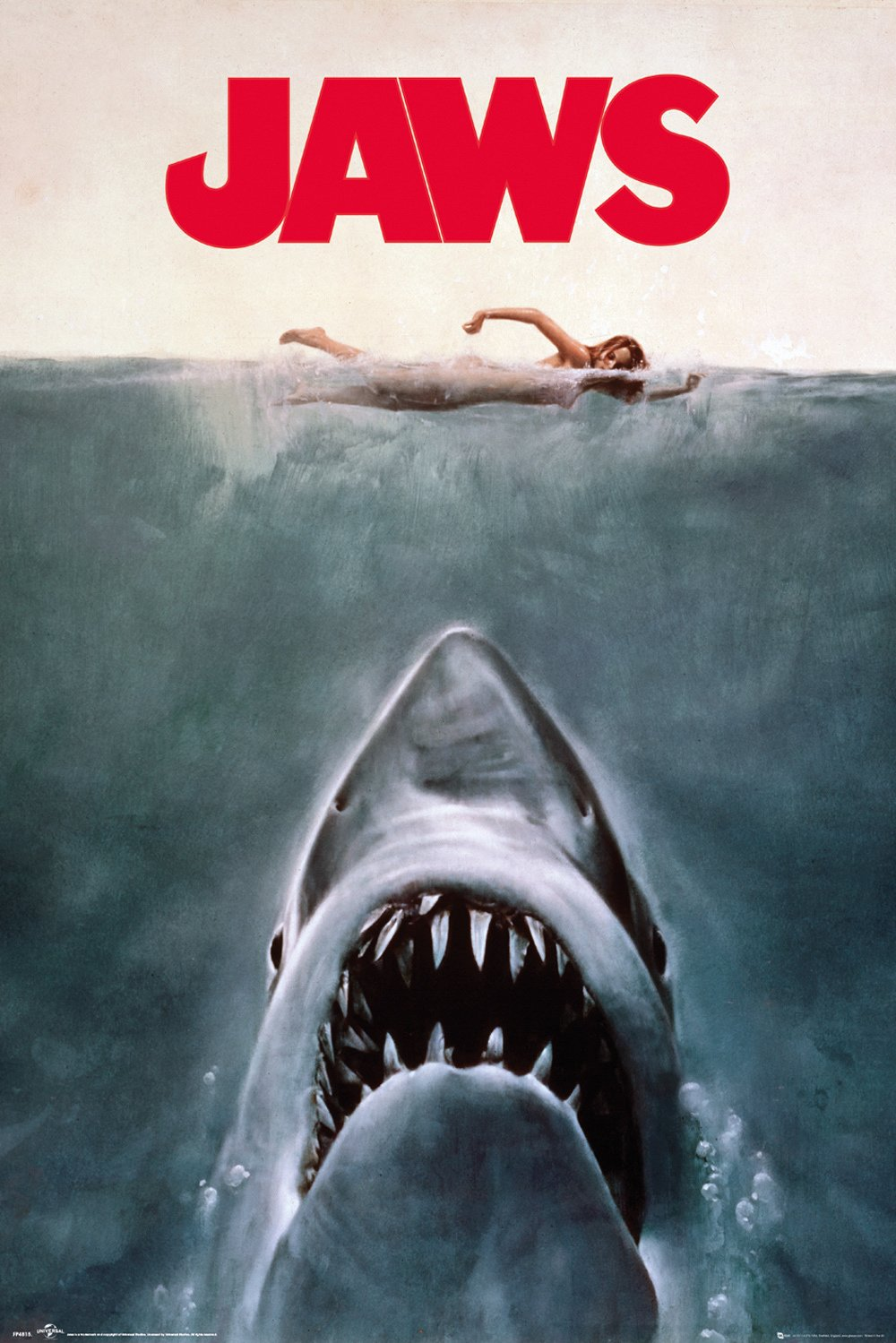 Jaws 1973 Movie Huge wall poster size is 36 inches tall by 24 inches wide