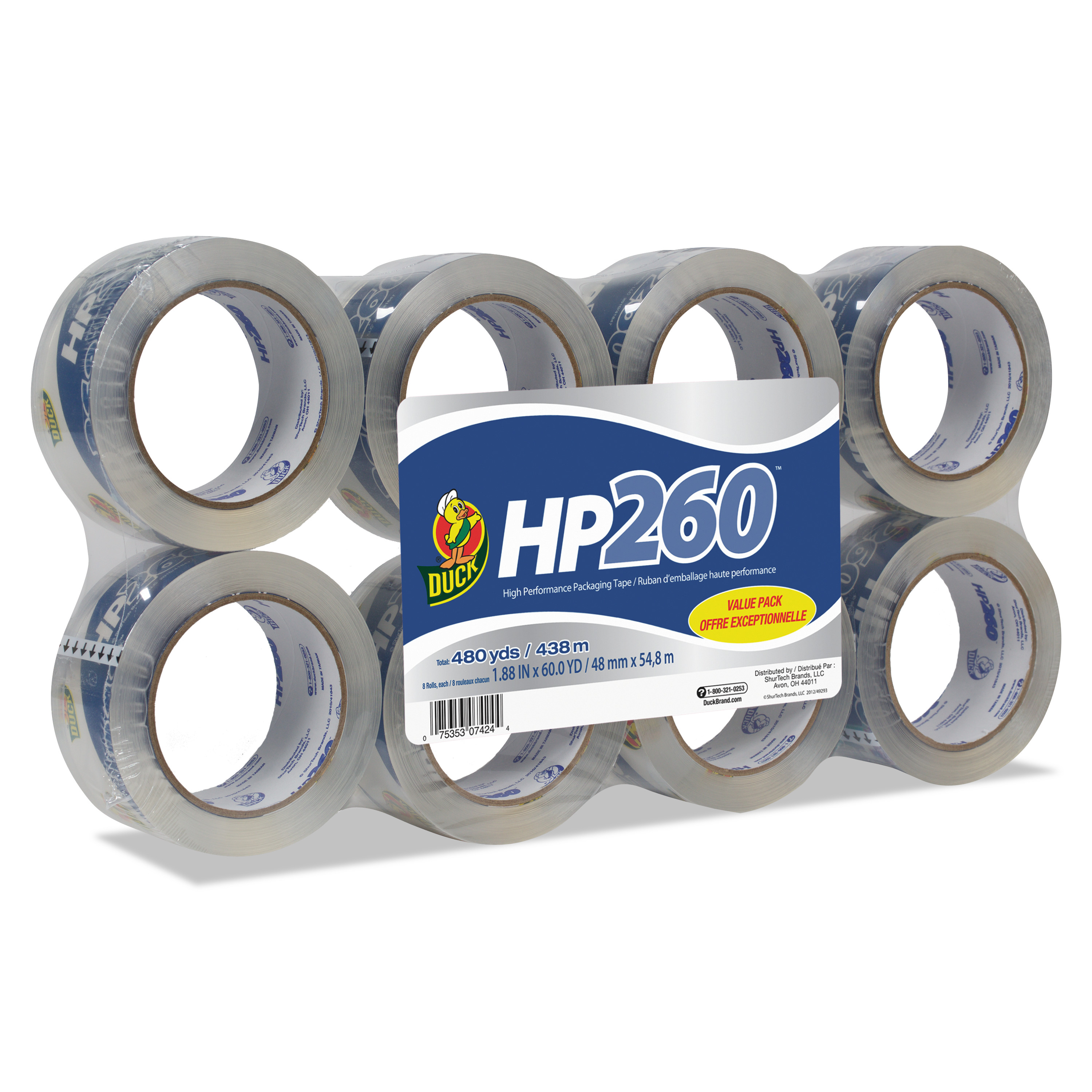 Duck Brand HP260 Packaging Tape, 1.88 in. x 60 yd., Clear, 8-Count