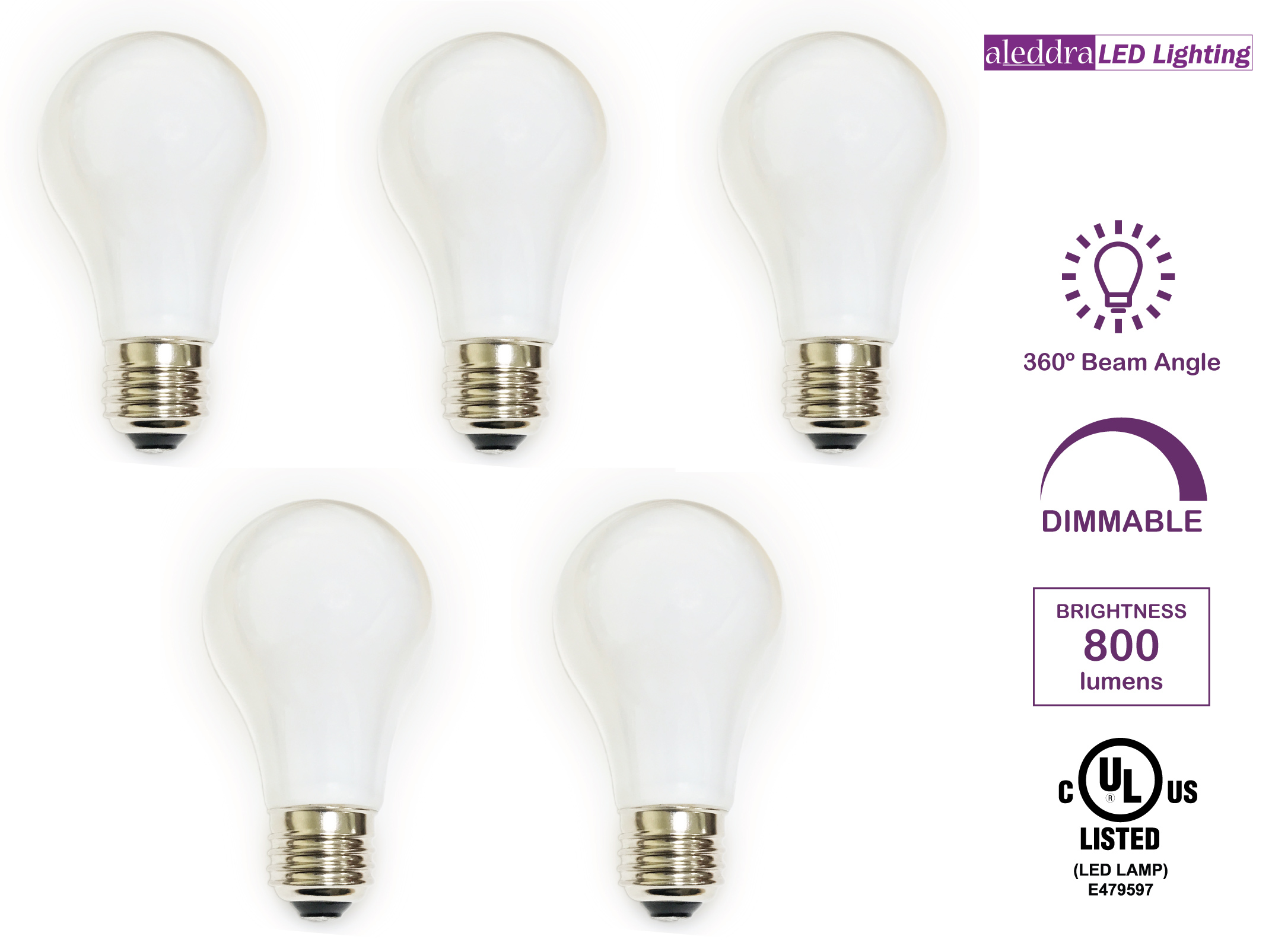 Aleddra Omni A19 LED Light Bulb, Screw In, Dimmable, 8W (60W