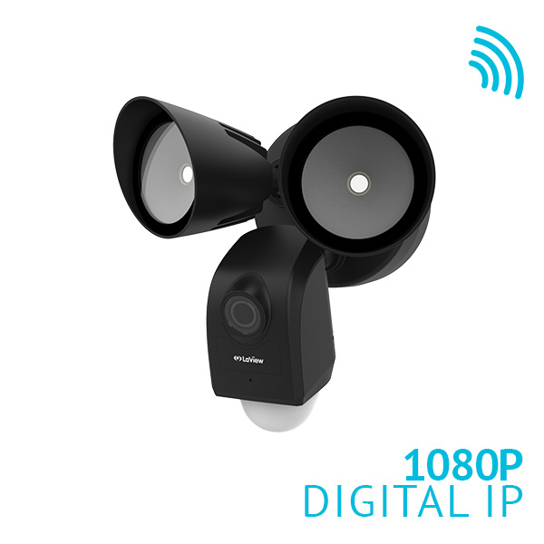 LaView ONE Nova HD 1080P Wi-Fi Floodlight Security Camera W/ Built-in Siren Alarm and PIR Motion Sensor
