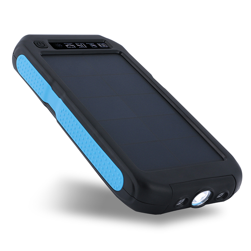 iMeshbean Portable 300000mAh Solar Power bank display three anti-mobile Charger for Phone Blue