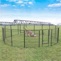 Topeakmart 2pcs 8 Panel Portable Pet Playpen Dog Puppy Exercise Pen Fence Metal Exercise Barrier Black