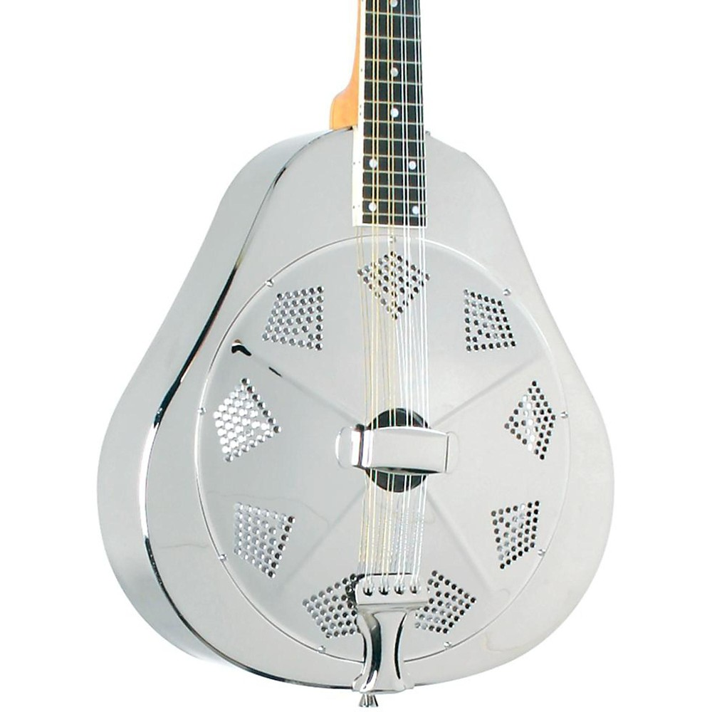 "Recording King RA-998-E Metal Body Mandolin, Nickel-Plated Bell Brass with ""Lily-of-The-Valley"" Back Engraving"