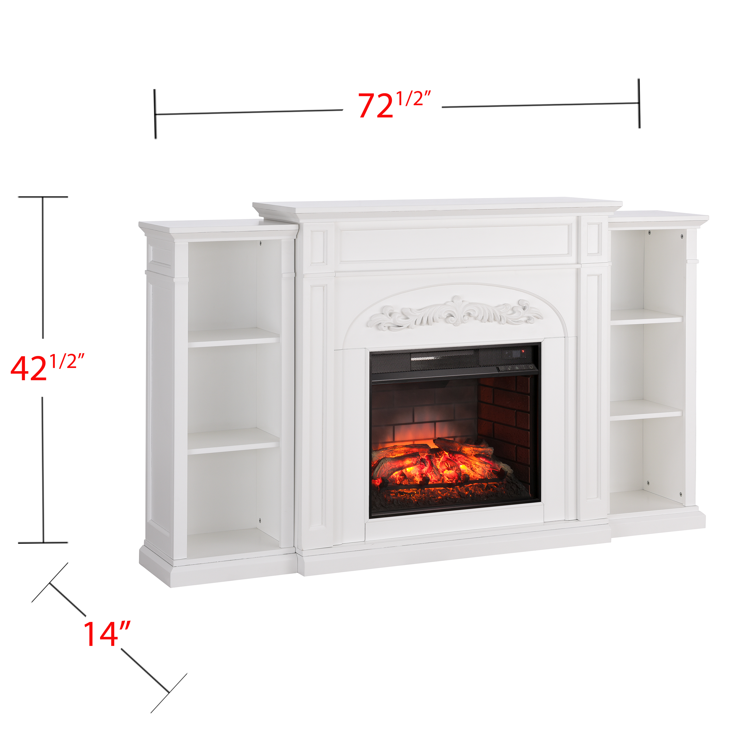 Crayfire Bookcase Infrared Electric Fireplace, White