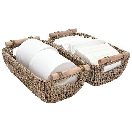 Wicker Storage Baskets, Decorative Seagrass Basket Tote with Wooden Handles, 12