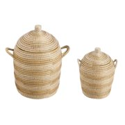 Cape Craftsmen Handwoven Kaisa Grass Taupe Artisan Baskets with Lid, Set of 2