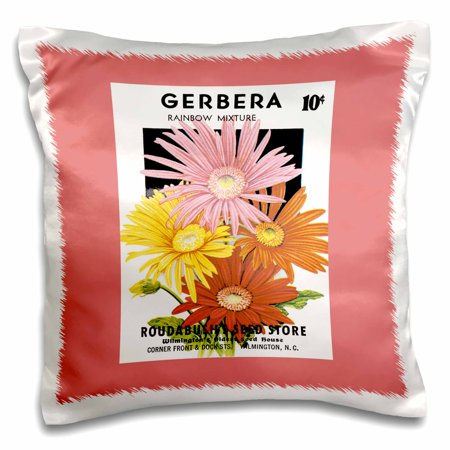 3dRose Gerbera Rainbow Mix Roudabushs Seed Store Wilmington NC - Pillow Case, 16 by 16-inch
