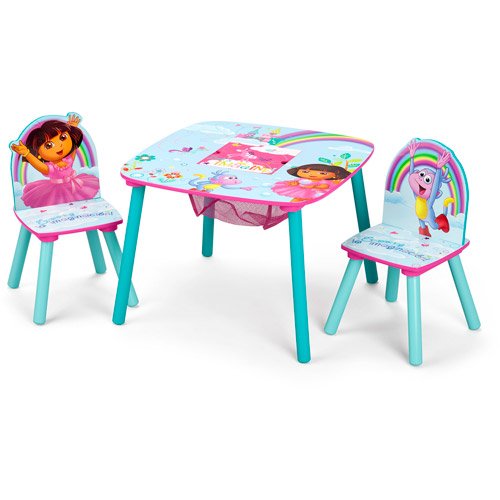 Nick Jr. Dora the Explorer Wood Kids Storage Table and Chairs Set by Delta Children