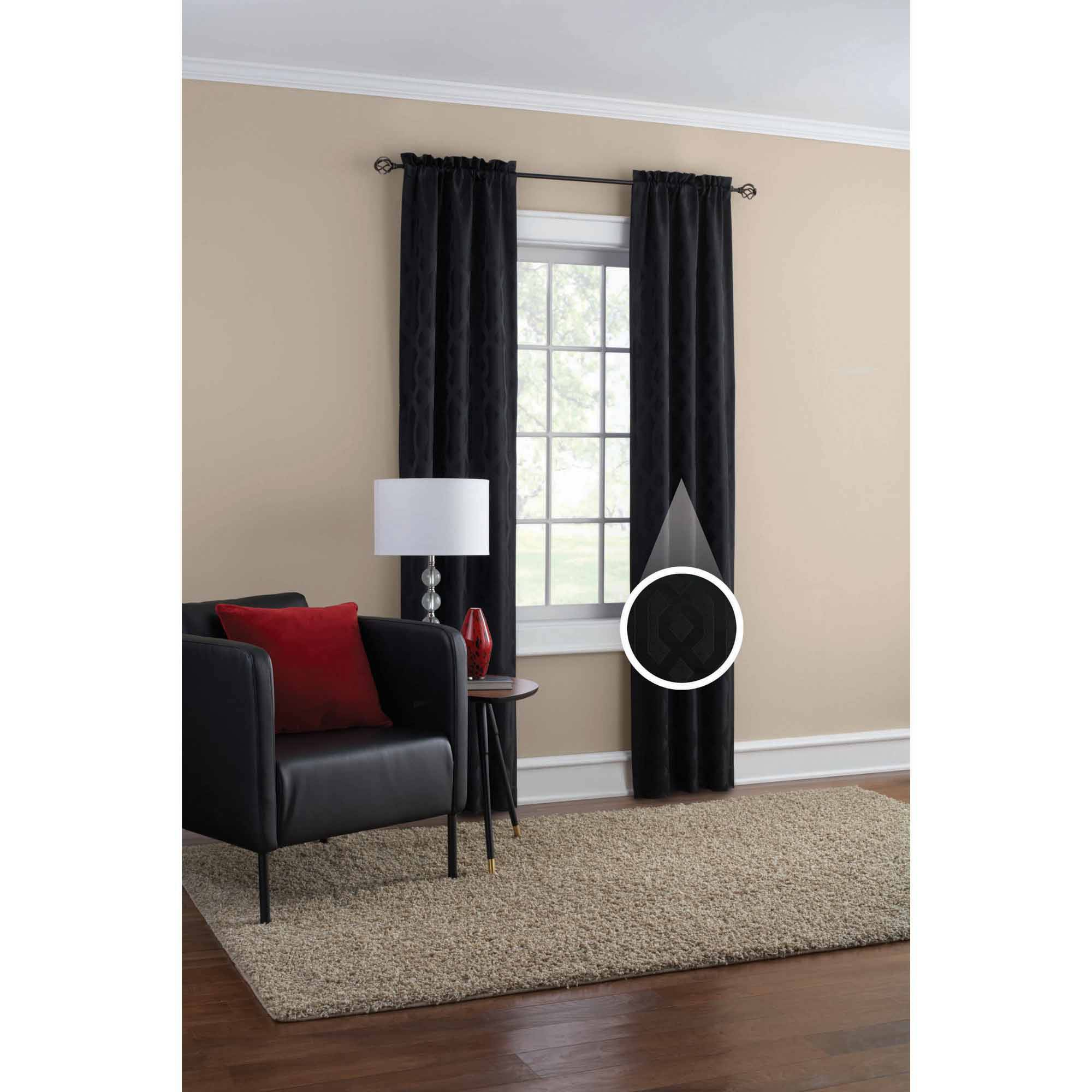 mainstays jacquard window curtains, set of 2 - walmart