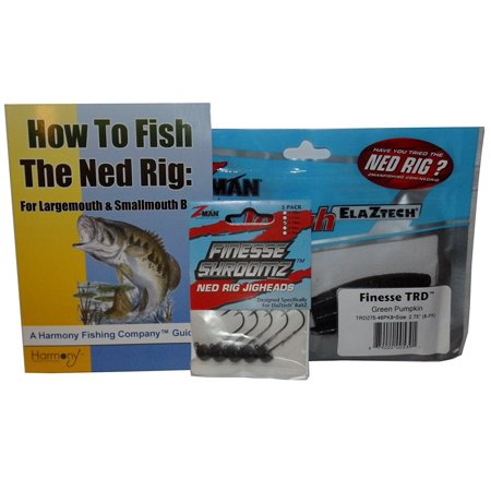 Ned Rig Kit - Z-Man Finesse T.R.D. 8pk + Finesse Shroomz Jig Heads 5pk (Green Pumpkin) + How To Fish The Ned Rig Guide (Mini Jig Kit)