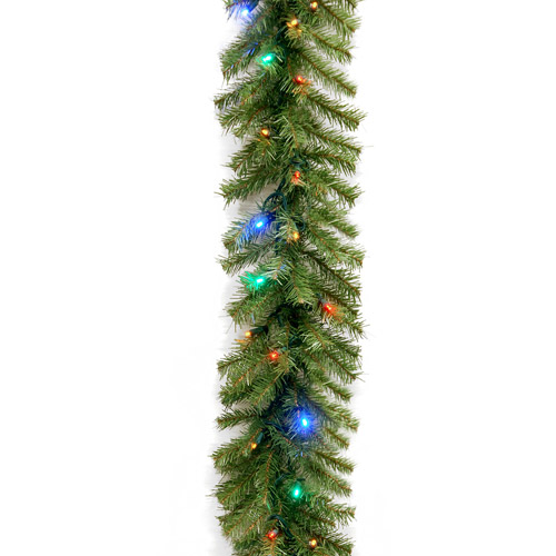 "National Tree 9' x 10"" Norwood Fir Garland with 50 Concave Multi 4-Color LED Lights"
