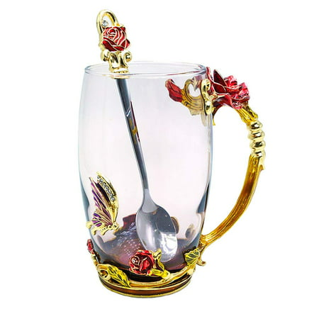 Peroptimist Flower Glass Tea Mug with Spoon, Lead Free Handmade Enamel Rose and Butterfly Clear Glass Coffee Cup with Handle, Unique Christmas Birthday Gift for Women Mom Grandma Female Friend ()
