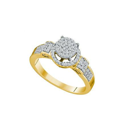 10K Yellow Gold 0 25Ctw Shiny Micro Pave Diamond Center Round Fashion Ring