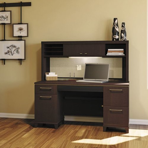 Charmant Bush Business Furniture Enterprise Double Pedestal Executive Desk With Hutch