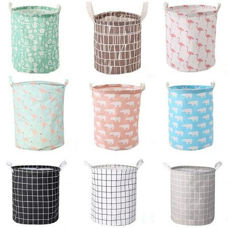 Sawpy Foldable Cotton Linen Hamper Laundry Basket with Handle Bag Dirty Clothes Toy Storage Basket Bin Organizer A Baby Hamper