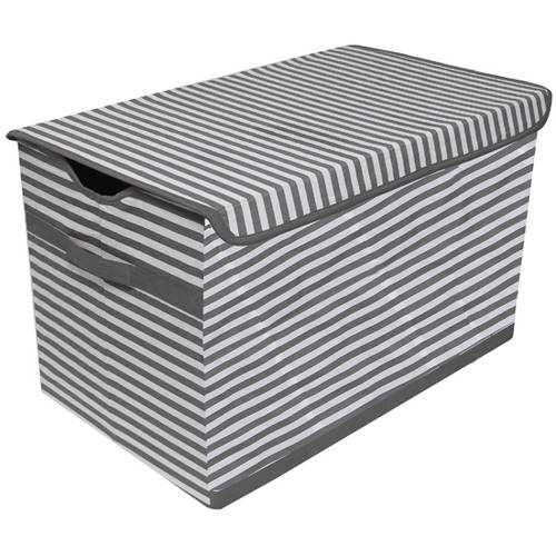 Bacati Pin Stripes White/Grey Collapsible Stoway Storage Toy Chest with 100 Percent Cotton Percale Outside Cover
