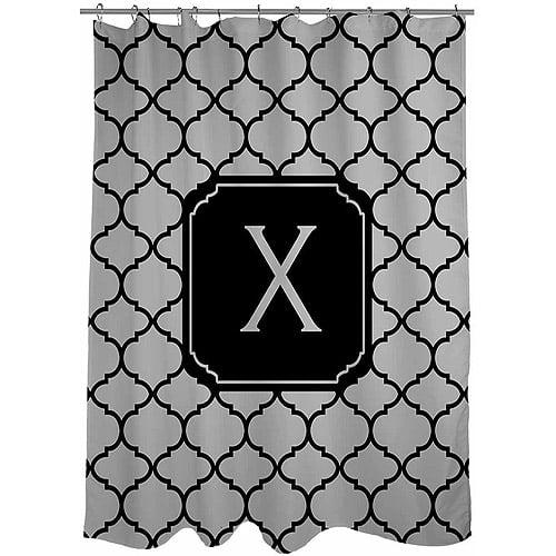 MWW, Inc. Thumbprintz Moroccan Monogram Shower Curtain, Grey
