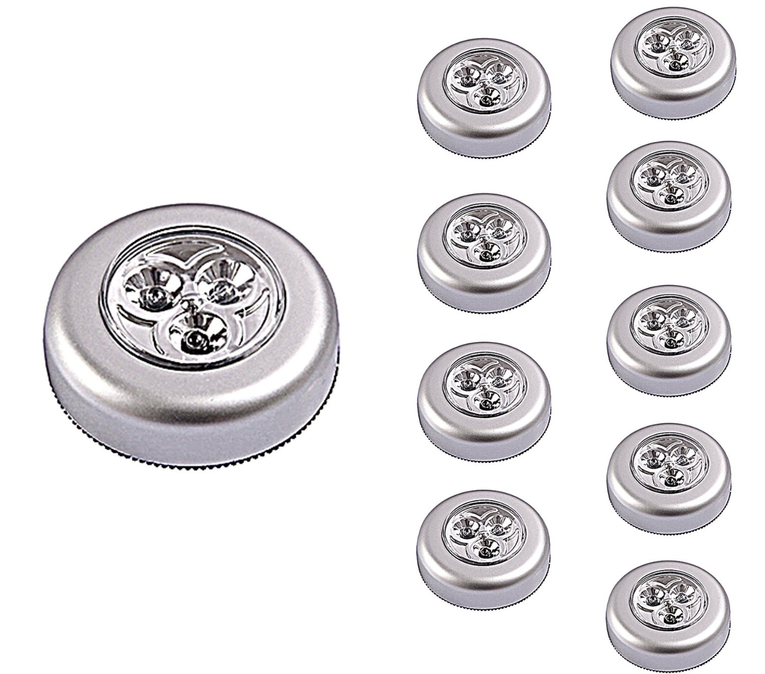 Lot of 6 4-LED Under Cabinet Push Tap Touch Stick On Night Light Lamps Silver