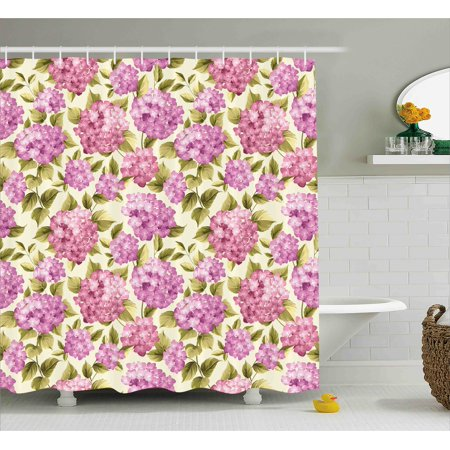Shabby Chic Decor Shower Curtain, Organze Rose Like Flower with Leaves Branches Image, Fabric Bathroom Set with Hooks, 69W X 84L Inches Extra Long, Baby Pink Lilac Pale Green Cream, (Shabby Chic Baby Clothes)
