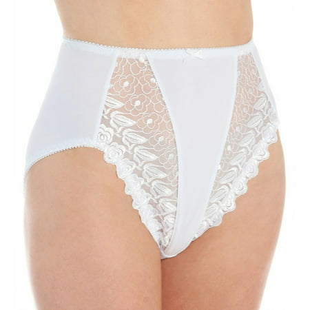 Women's Valmont 2320 Embroidered Lace and Satin Hi-Cut Brief Panties (White 11) - image 1 of 4