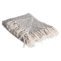 """DII Rustic Farmhouse Cotton Diamond Blanket Throw with Fringe For Chair, Couch, Picnic, Camping, Beach, & Everyday Use , 50 x 60"""" - Fields of Diamond French Blue"""