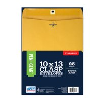 Pen+Gear, 10x13 Clasp Envelopes, 24 lb. Brown Kraft with Gummed Closure for Permanent Seal, 25 CT (60797)