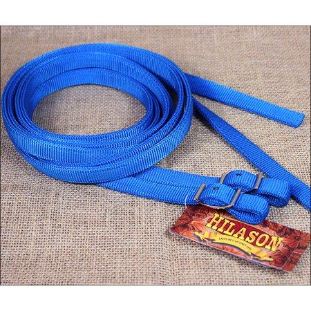 5/8in x 7ft HILASON BLUE NYLON HORSE SPILT CONTEST REIN NICKEL PLATED HARDWARE