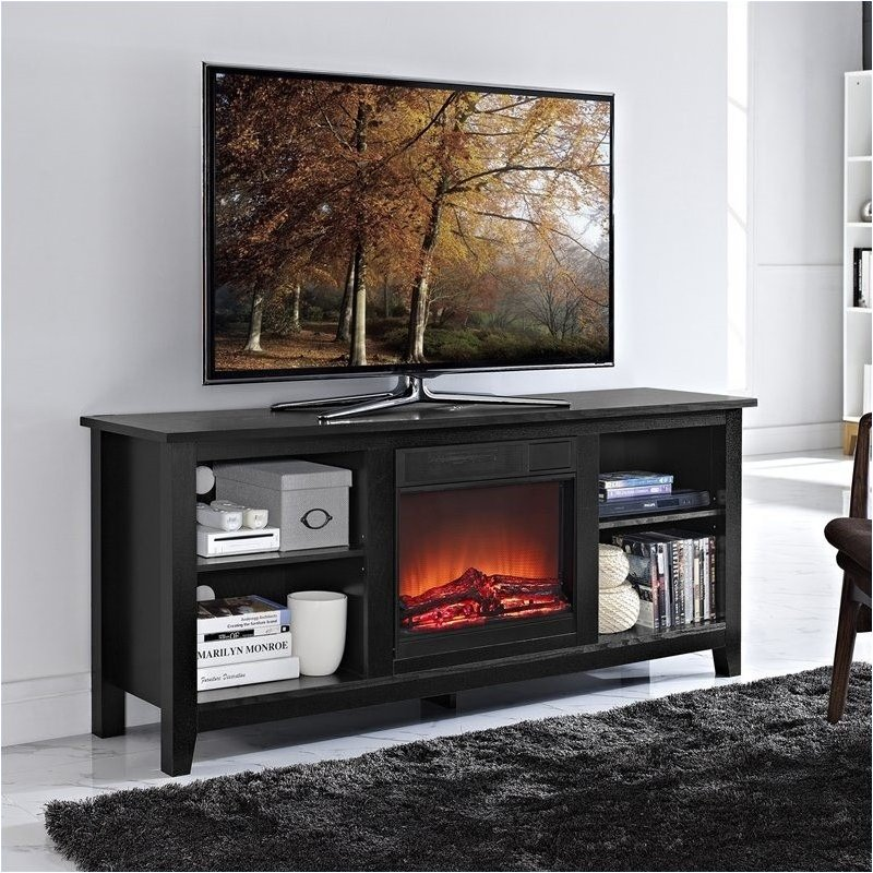 "Pemberly Row 58"" Wood TV Stand with Fireplace in Black"