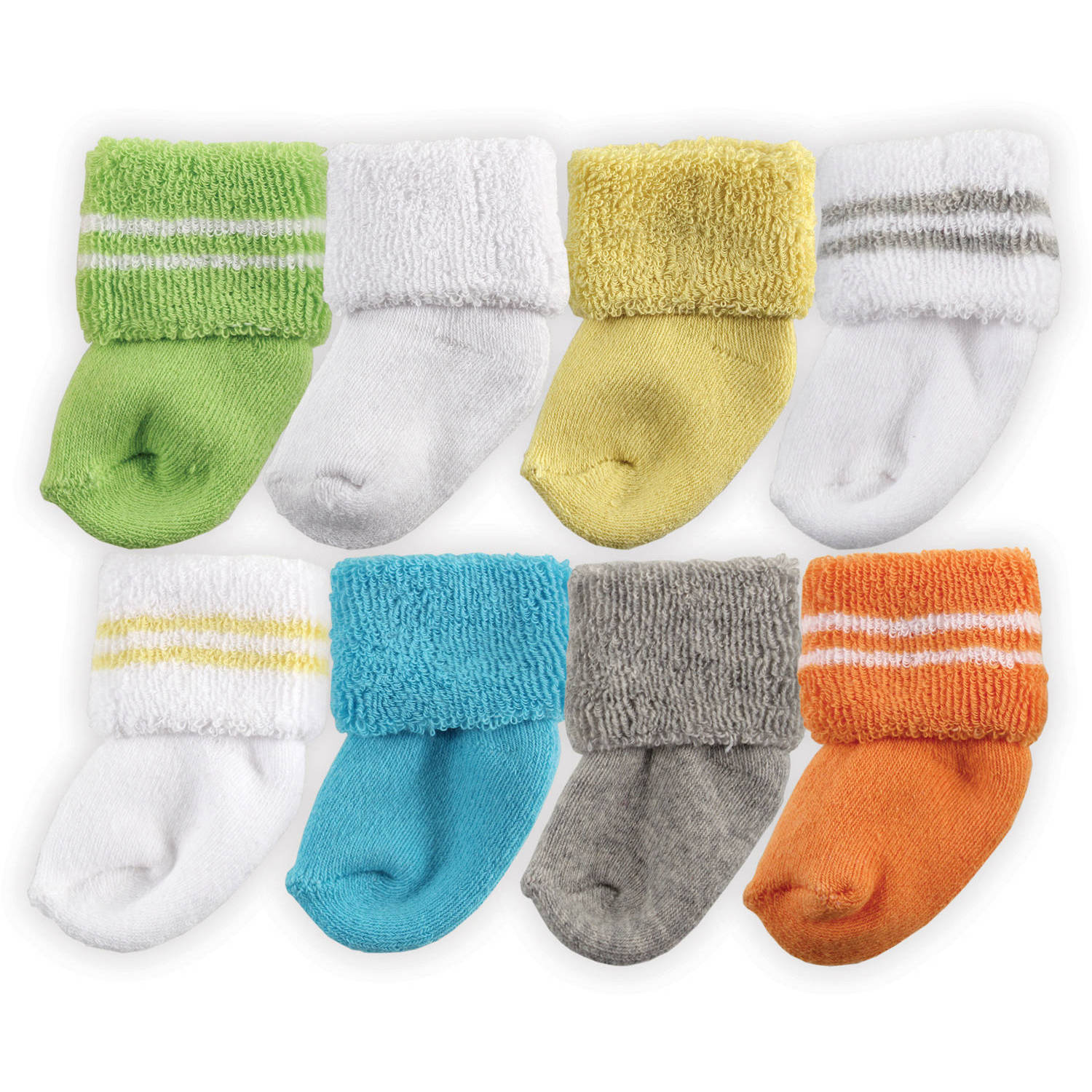 Luvable Friends Newborn Baby Neutral Socks 8-Pack