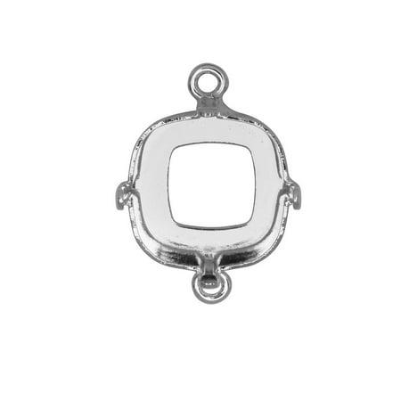 Gita Jewelry Stone Setting for Swarovski Crystal, Open Back Square Connector for 12mm Cushion, Rhodium (Swarovski Open Wing)