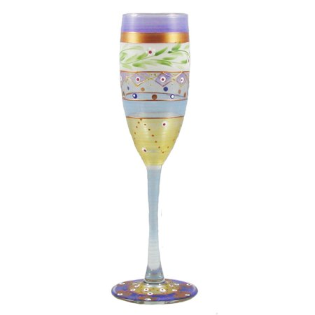 Set of 2 Mosaic Garland & Stripes Hand Painted Champagne Flute Glass - 5.75 Oz.