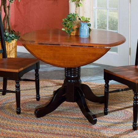 A-America British Isles Round Double Drop-Leaf Dining Table ...