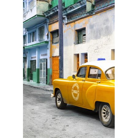 Cuba Fuerte Collection - Orange Taxi Car in Havana Print Wall Art By Philippe