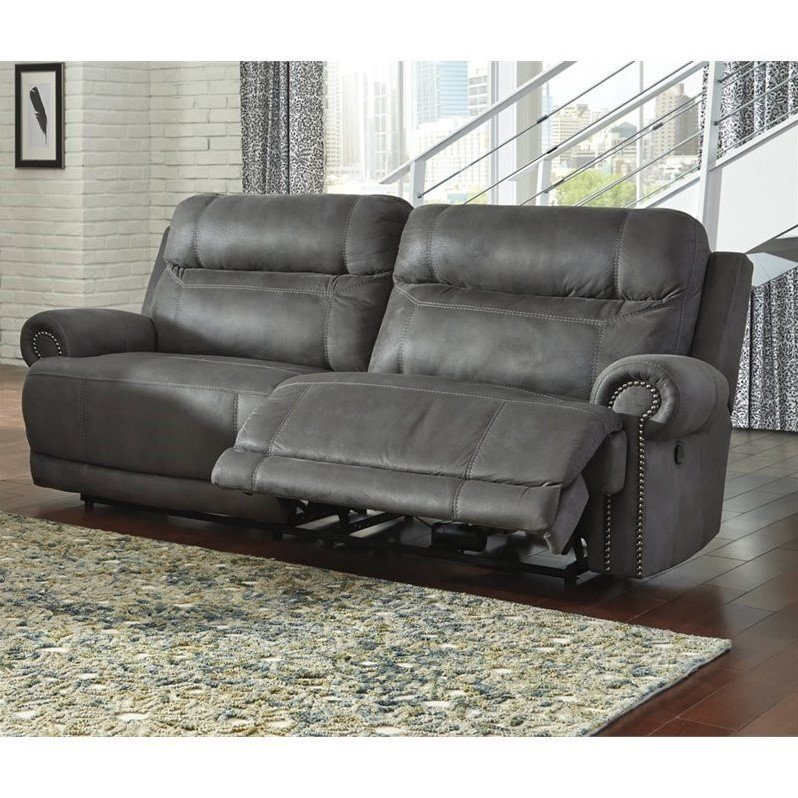 Ashley Furniture Austere Faux Leather Reclining Sofa in Gray  sc 1 st  Walmart : leather reclining sofas - islam-shia.org