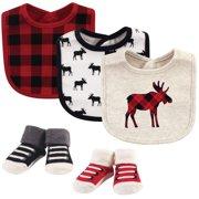 Hudson Baby Newborn Boy or Girl Unisex Bibs and Socks Gift Set, 5pc