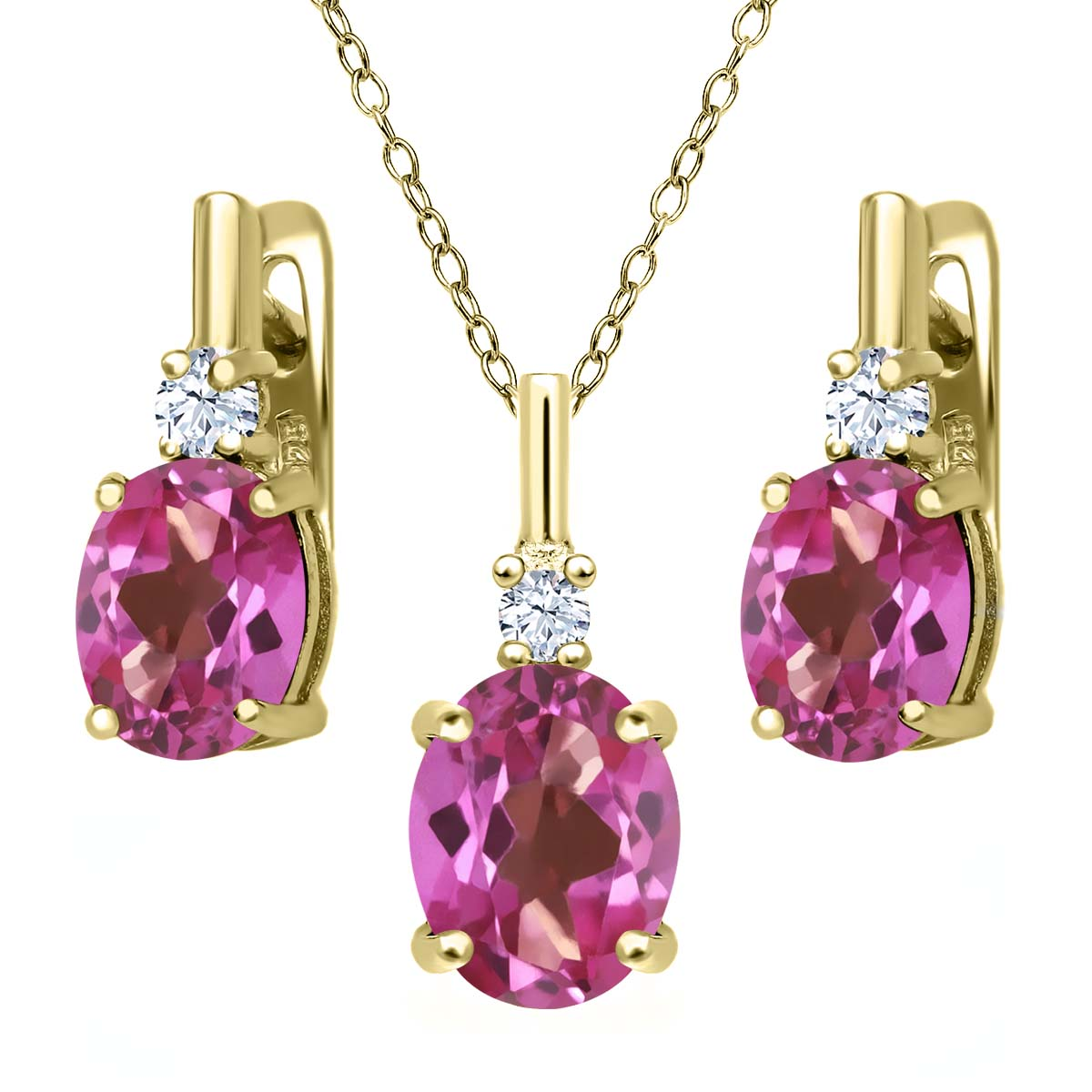 6.98 Ct Pink Mystic Topaz White Topaz 18K Yellow Gold Plated Silver Pendant Earrings Set by