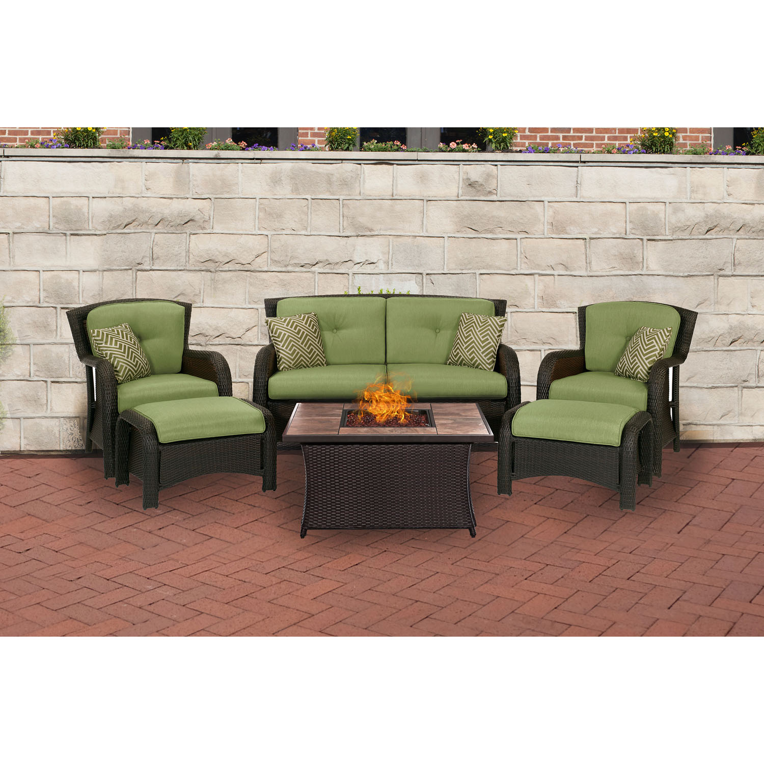 Hanover Strathmere 6-Piece Fire Pit Lounge Set with Glazed Faux-Wood Tile Top