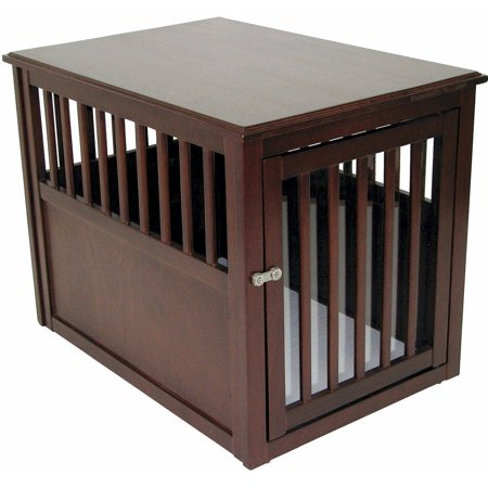 Crown Pet Products Crate Wood Dog Furniture End Table Medium Size With Espresso Finish