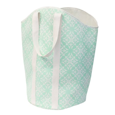 Tea Hamper - Large Foldable Carry-All Hamper/Tote, Teal/White By Closet Complete
