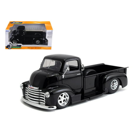 1952 Chevrolet COE Pickup Truck Black with Chrome Wheels 1/24 Diecast Model by